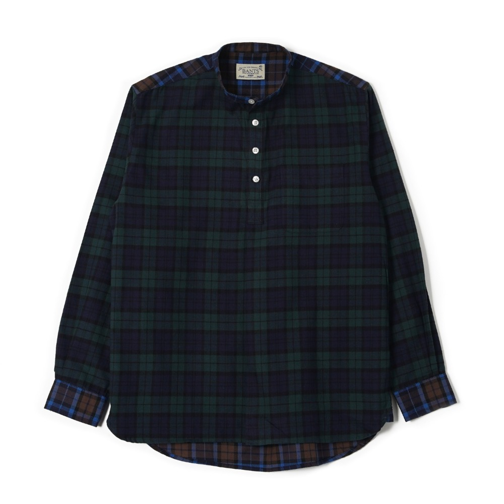 "BANTS OSF Check Flannel Collarless Pullover Shirt ""Blackwatch"""