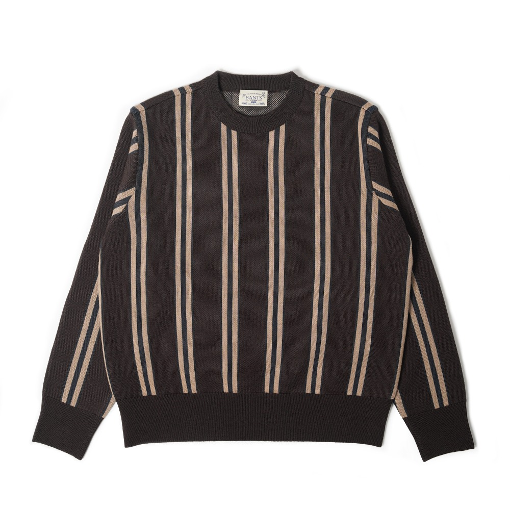 "BANTS OSF Stripe Knit Crewneck Sweater ""Brown"""