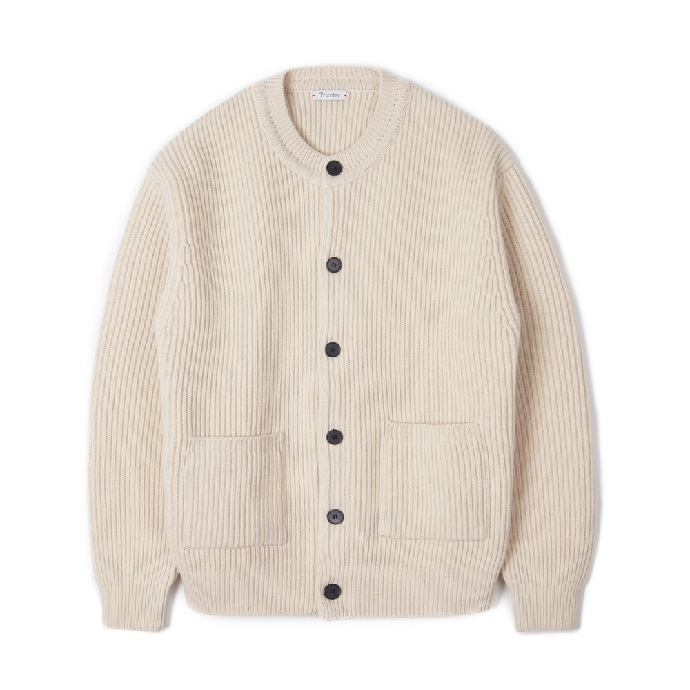 "TRICOTER Chunky Ribbed Full Cardigan ""Ivory"""