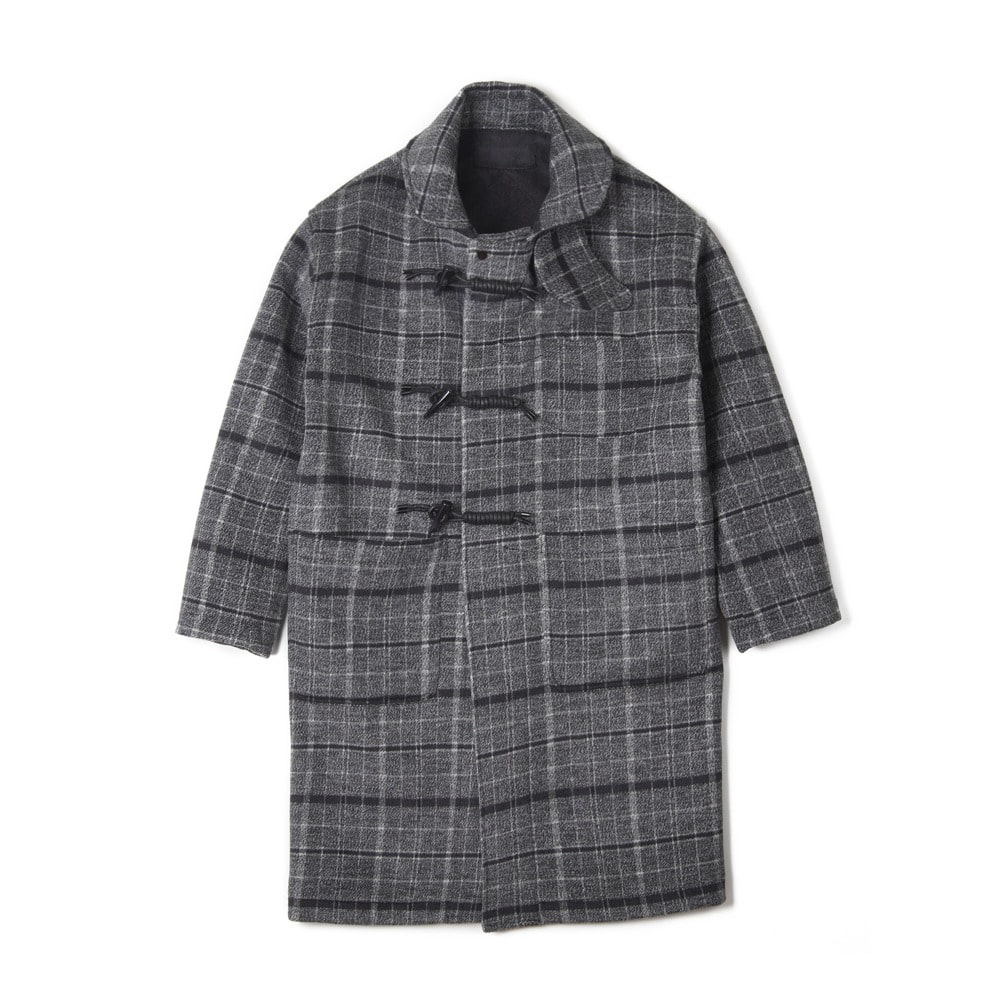 "OOPARTS Overfit Sailor Collar Duffle Coat ""Grey Check"""