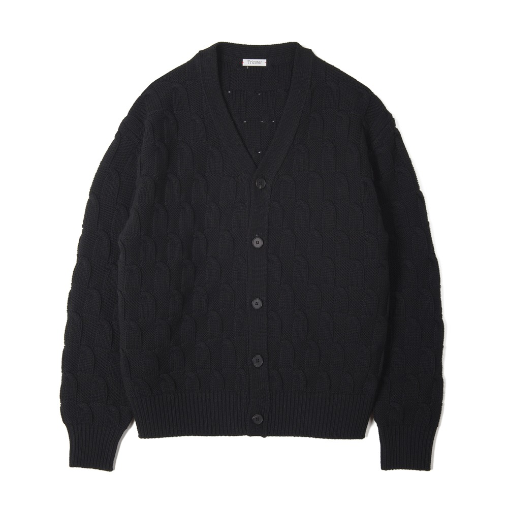 "TRICOTER Bold Cable V Neck Cardigan ""Black"""