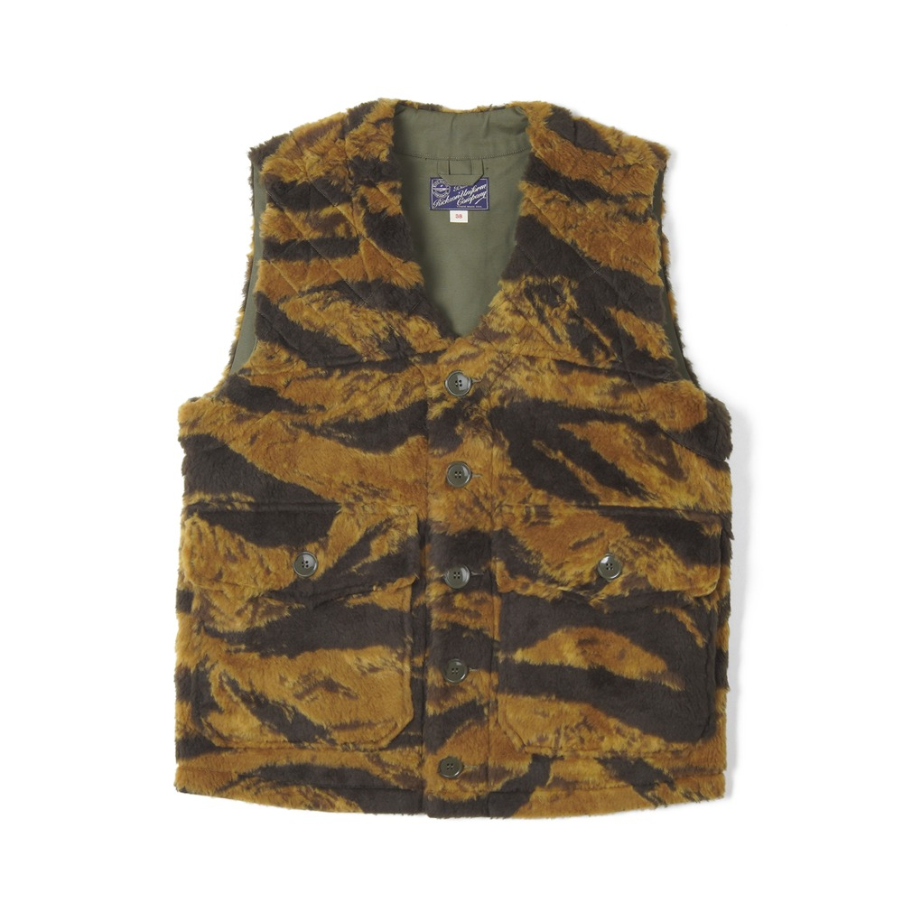 "BUZZ RICKSON'S Gold Tiger Camoflage Pattern Boa Vest Civilian Model ""Khaki"""
