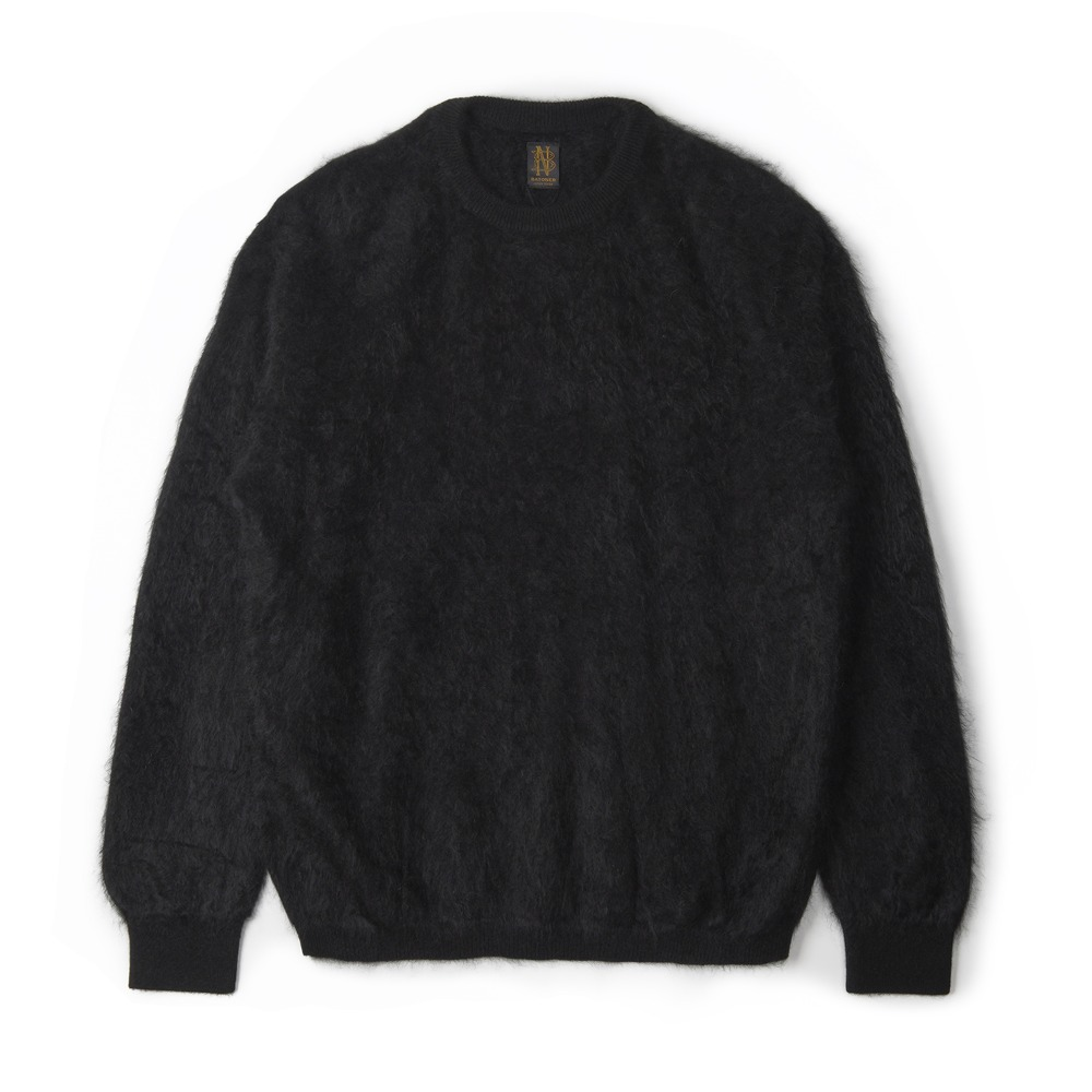 "BATONER Brushed Cashmere Crew Neck Knit ""Black"""