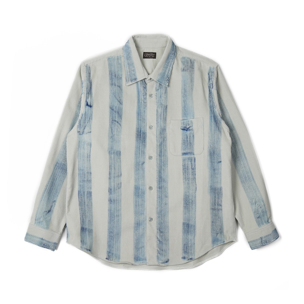 "SUGAR CANE Corduroy Ragular Collar Shirt Rolled Touched ""Blue"""