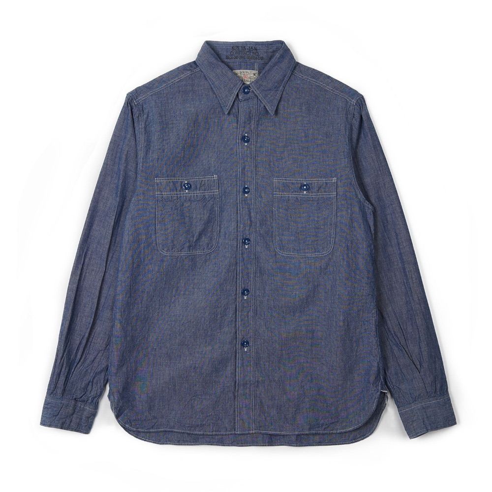 "BUZZ RICKSON'S BR25995 Blue Chambray Work Shirt ""Blue"""