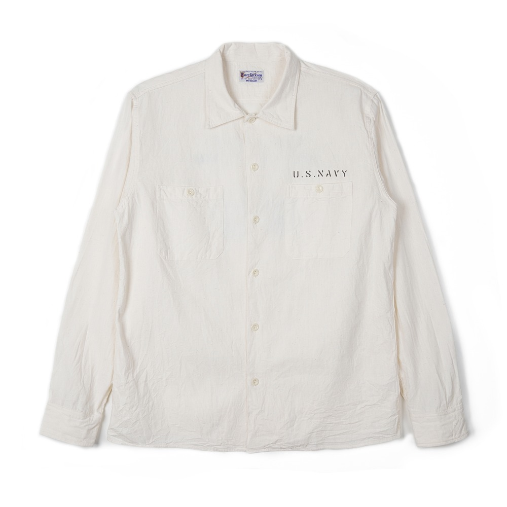 "BUZZ RICKSON'S Blue Chambray Work Shirt Stencil ""Off White"""