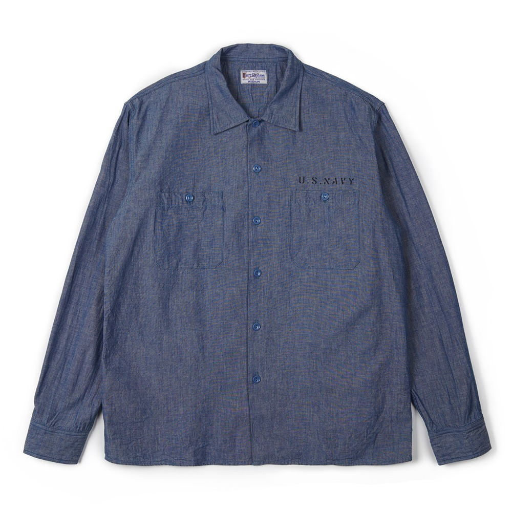 "BUZZ RICKSON'S Blue Chambray Work Shirt Stencil ""Blue"""