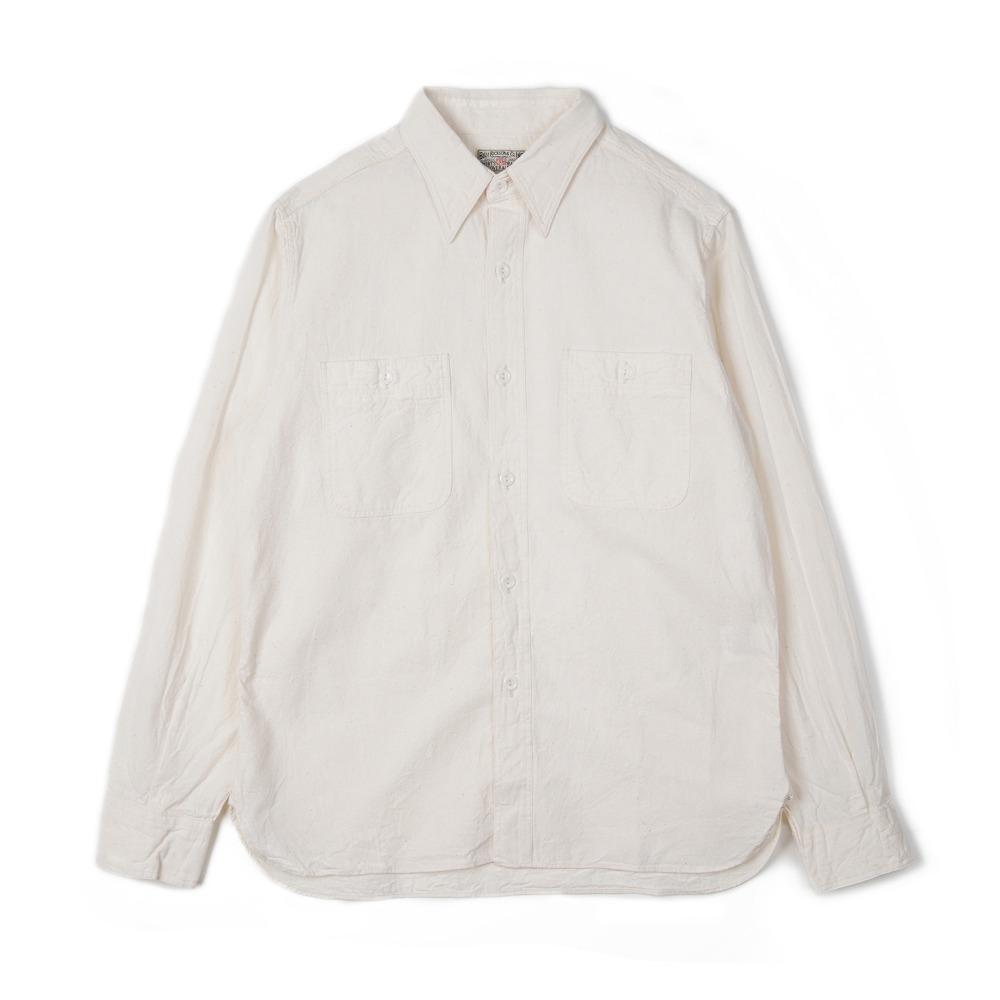 "BUZZ RICKSON'S BR25996 White Chambray Work Shirt ""Off White"""