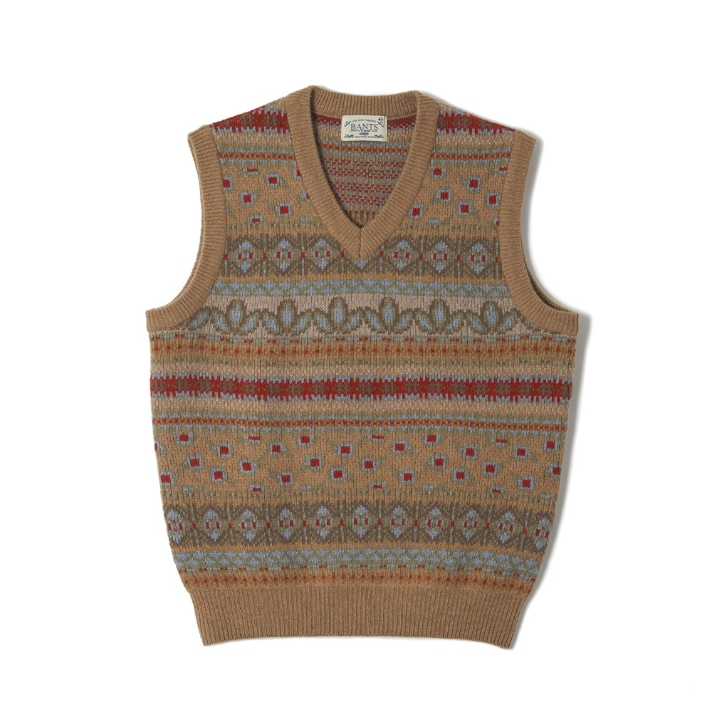 "BANTS OSF Tasmania Wool Fair Isle Knit Ves ""Beige"""
