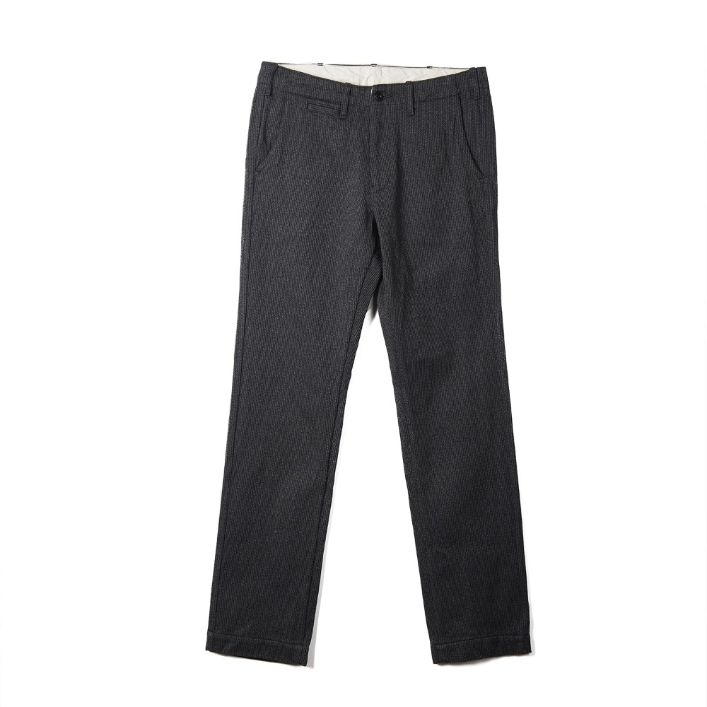 "BURGUS PLUS Zip Fly Modern Trousers Covert Heavy Pique ""Charcoal Grey"""