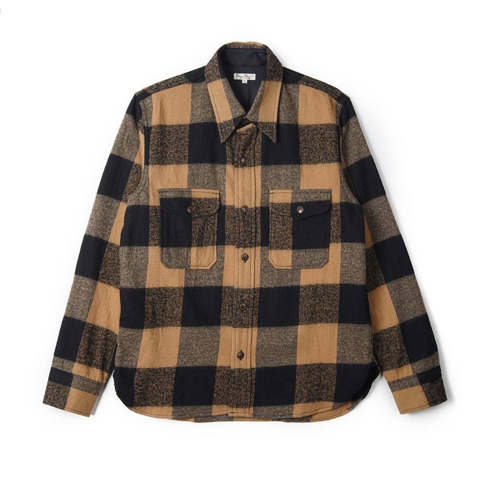 "BURGUS PLUS Wool Block Check Shirt ""Camel Check"""