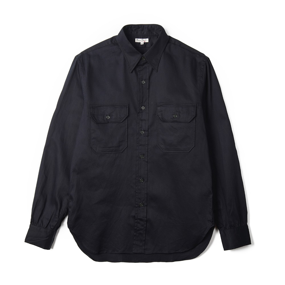 "BURGUS PLUS L/S Military Twill Shirt ""Navy"""