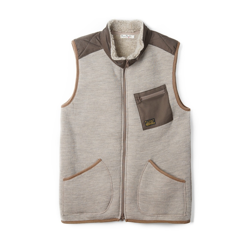 "BURGUS PLUS Wool Fleece Vest ""Ivory"""