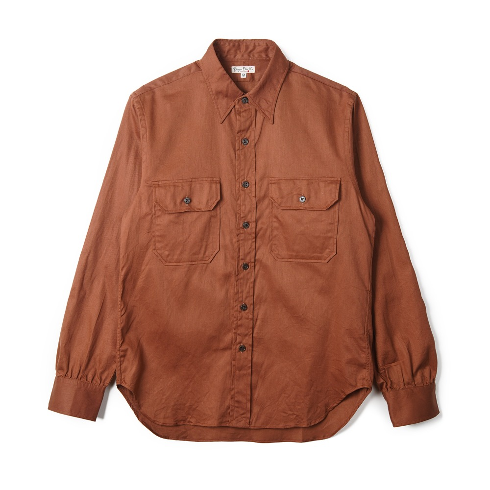 "BURGUS PLUS L/S Military Twill Shirt ""Rust"""
