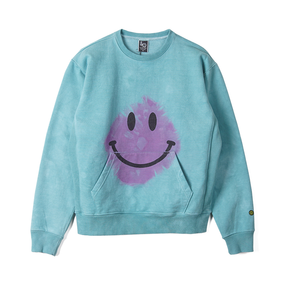 "LOCALS ONLY Tie dye MAD Smile Sweat Shirts ""Turquoise/Pink"""