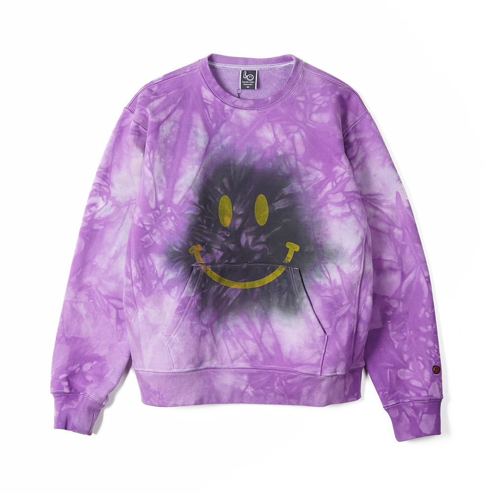 "LOCALS ONLY Tie dye MAD Smile Sweat Shirts ""Purple/Black"""