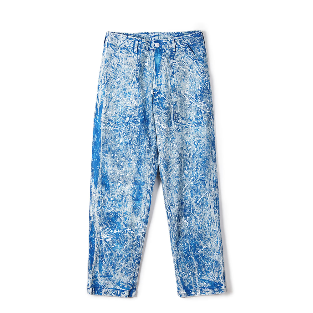 "MONITALY Fatigue Pants ""12 oz Bull Denim, Splatter + Tie Dye + Mineral Wash, Blue"""