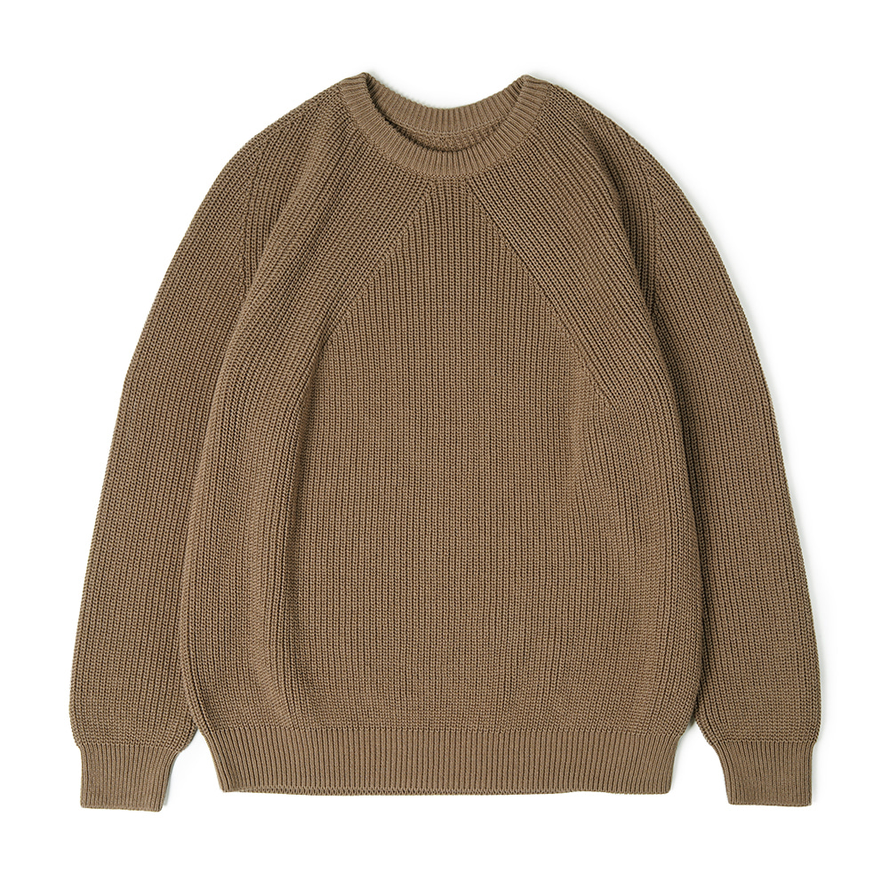 "BATONER Signature Cotton Crew Neck Knit ""Light Brown"""
