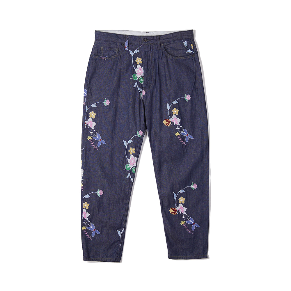 "ENGINEERED GARMENTS Peg Jean ""Indigo Denim Floral Embroidery"""