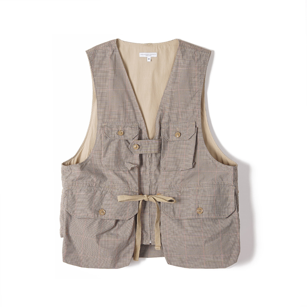 "ENGINEERED GARMENTS Game Vest ""Khaki Nyco Mini Tattersall"""