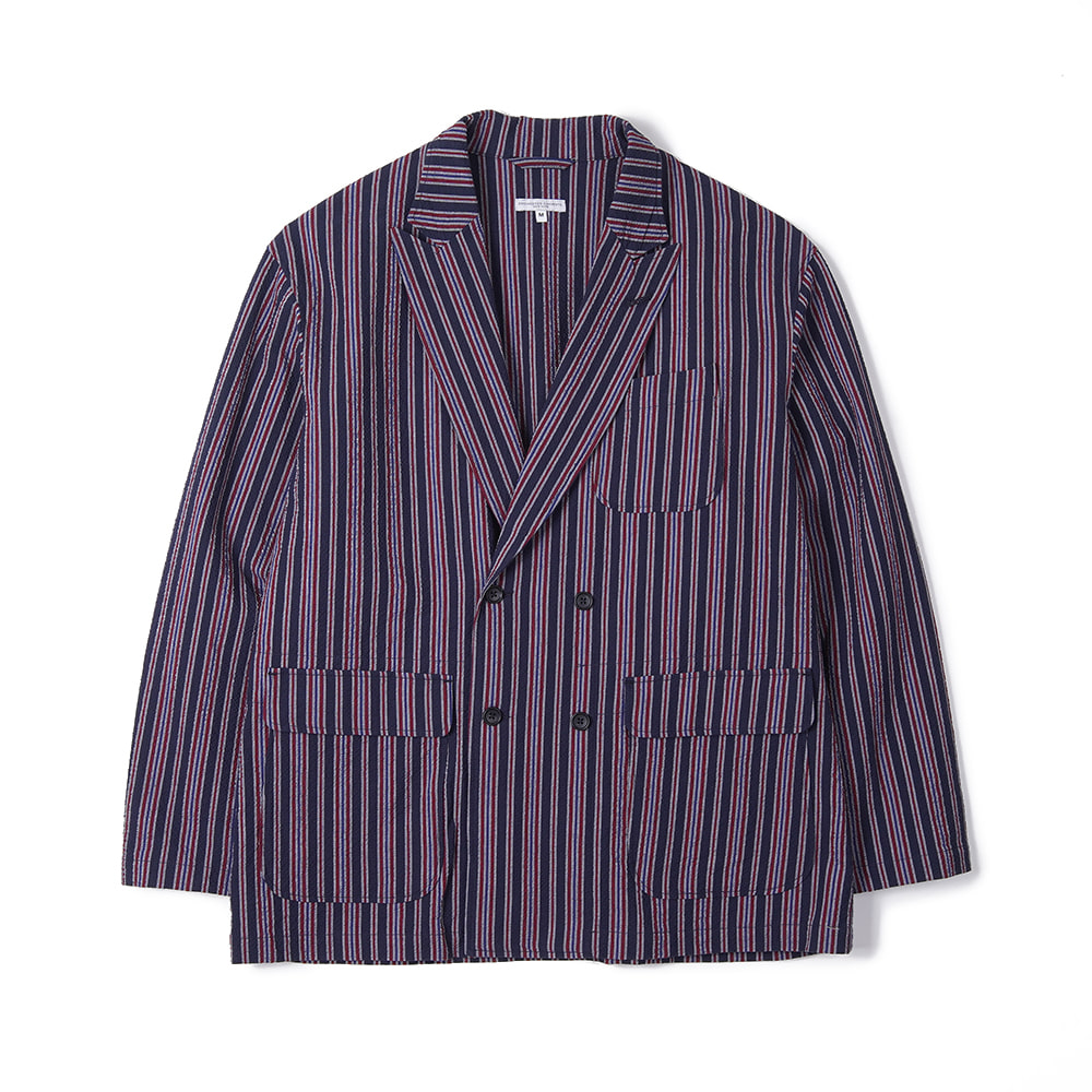 "ENGINEERED GARMENTS DL Jacket ""Navy Red Seersucker Alternate Stripe"""