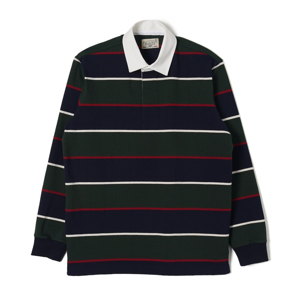 "BANTS WSK Stripe Cotton Rugby T-shirt "" Green x Navy"""