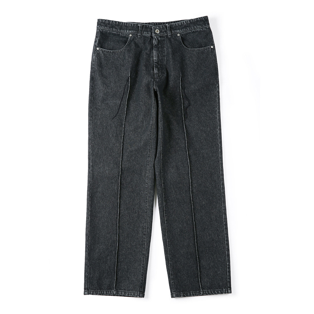 "SHIRTER Stitched Crease Denim Pants ""Black"""