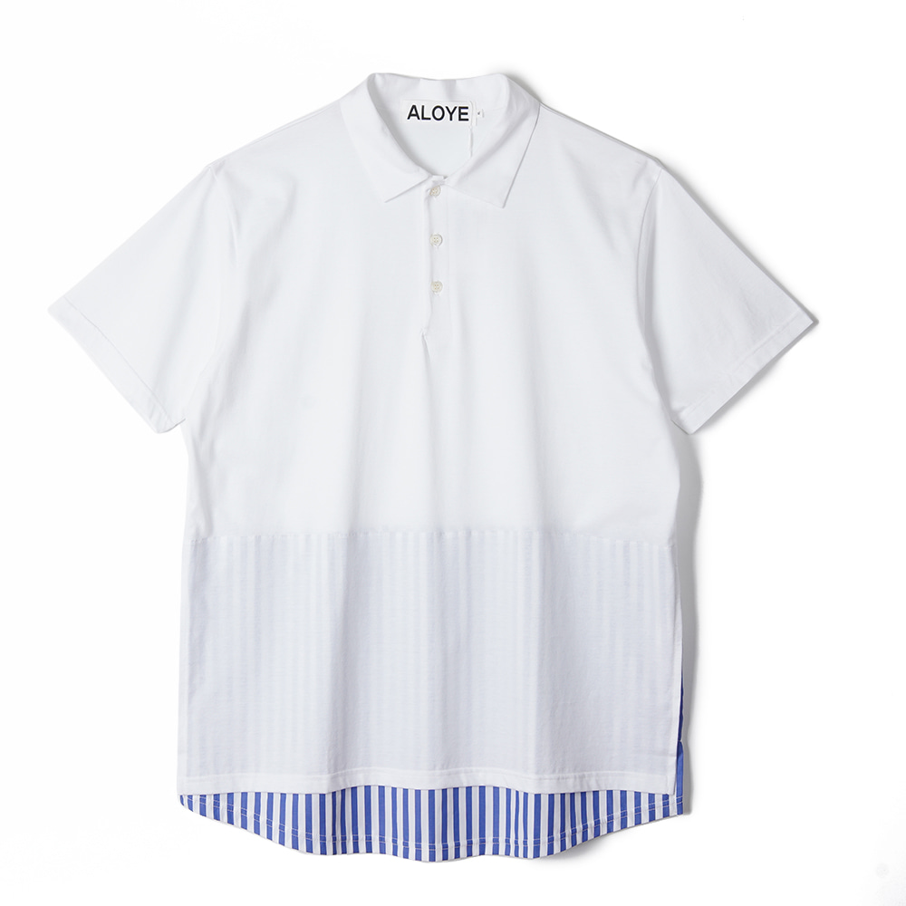 "ALOYE Shirt Fabrics Short Sleeve Layerd Polo Shirt ""White"""
