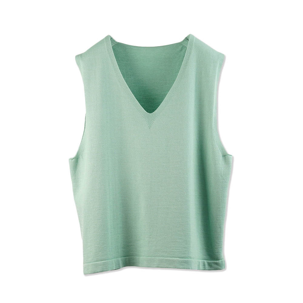 "OOPARTS Knitting V Neck Vest ""Mint"""