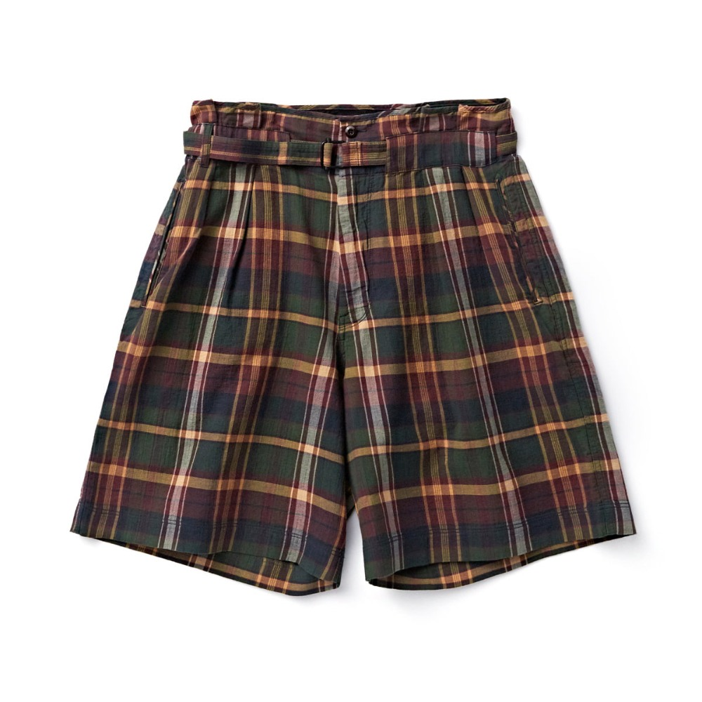 "EASTLOGUE Tropical Wide Shorts ""Olive Multi Check"""