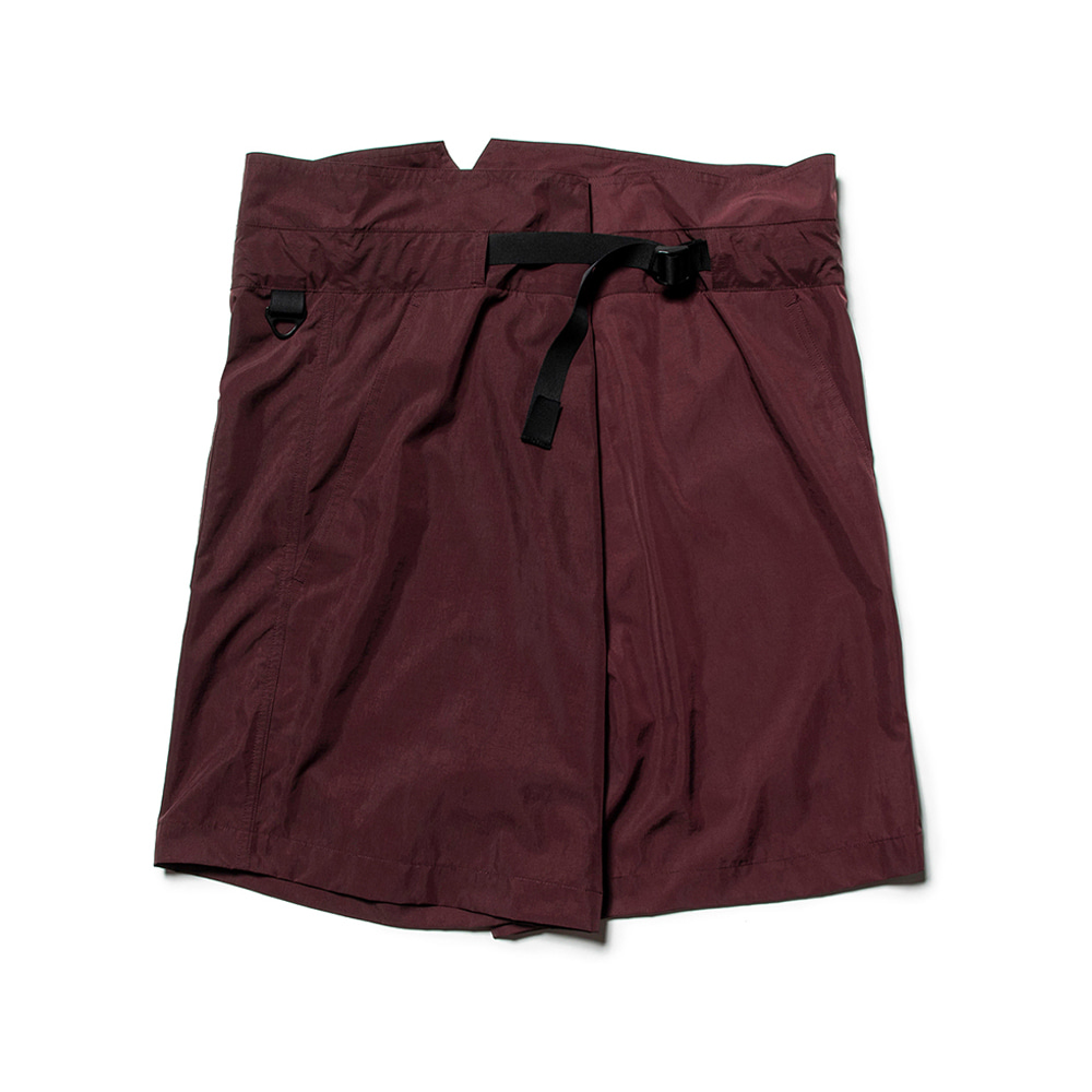 "MEANSWHILE Nylon Wrap Board Shorts ""Bordeaux"""