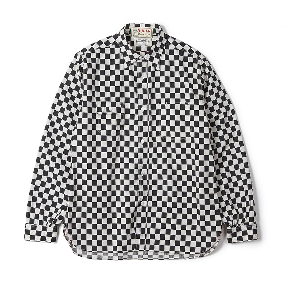 "SUGAR CANE Fiction Romance 4.5OZ Checker Print Work Shirt ""A. Black"""