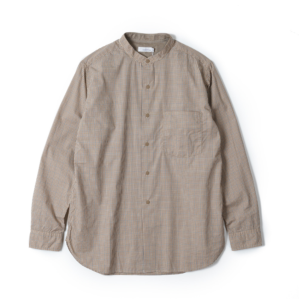 "NANAMICA Band Collar Wind Shirt ""Beige X Brown"""
