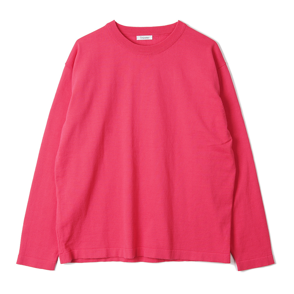 "TRICOTER High Twist Cotton Crew Neck Knit ""Fuchsia Pink"""
