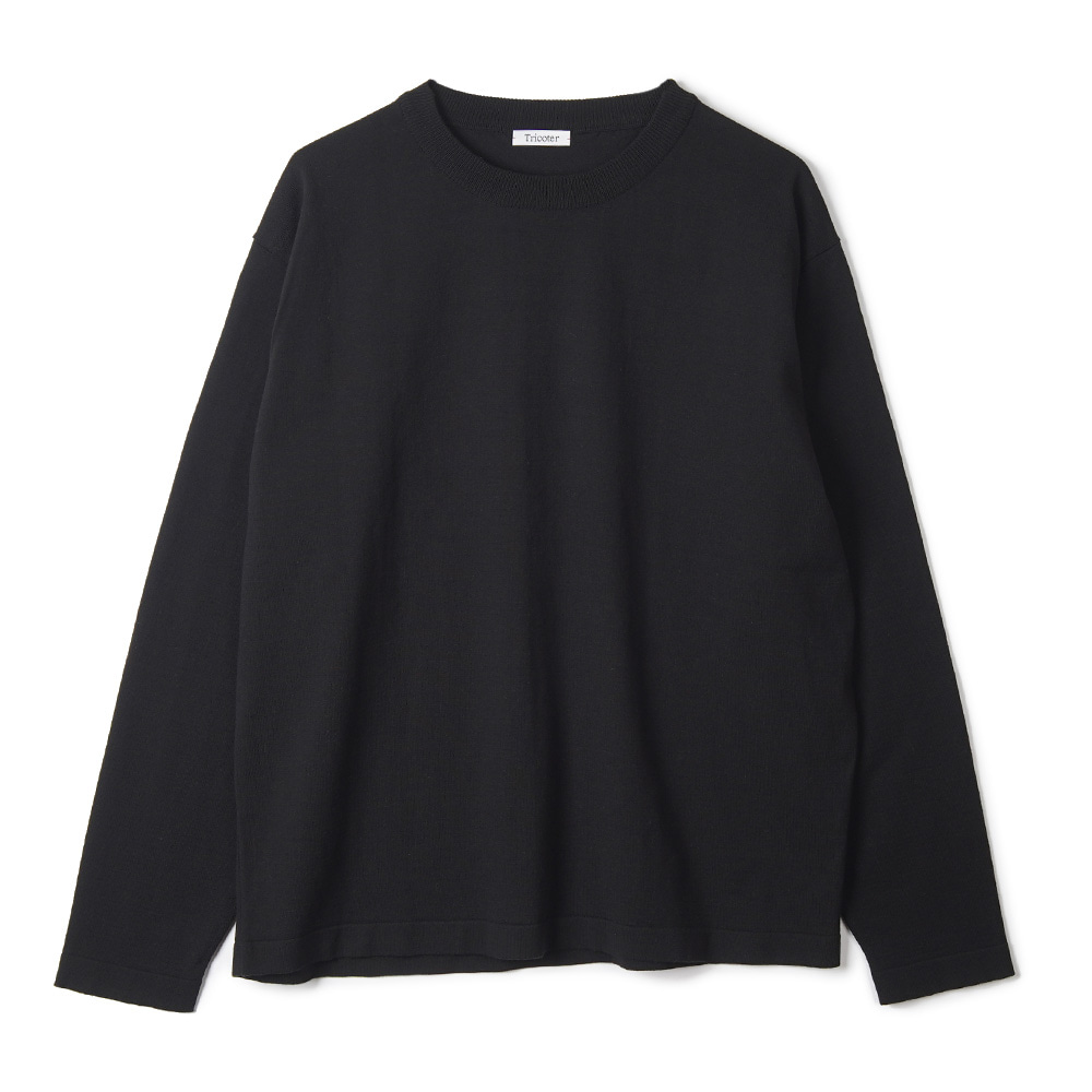 "TRICOTER High Twist Cotton Crew Neck Knit ""Black"""