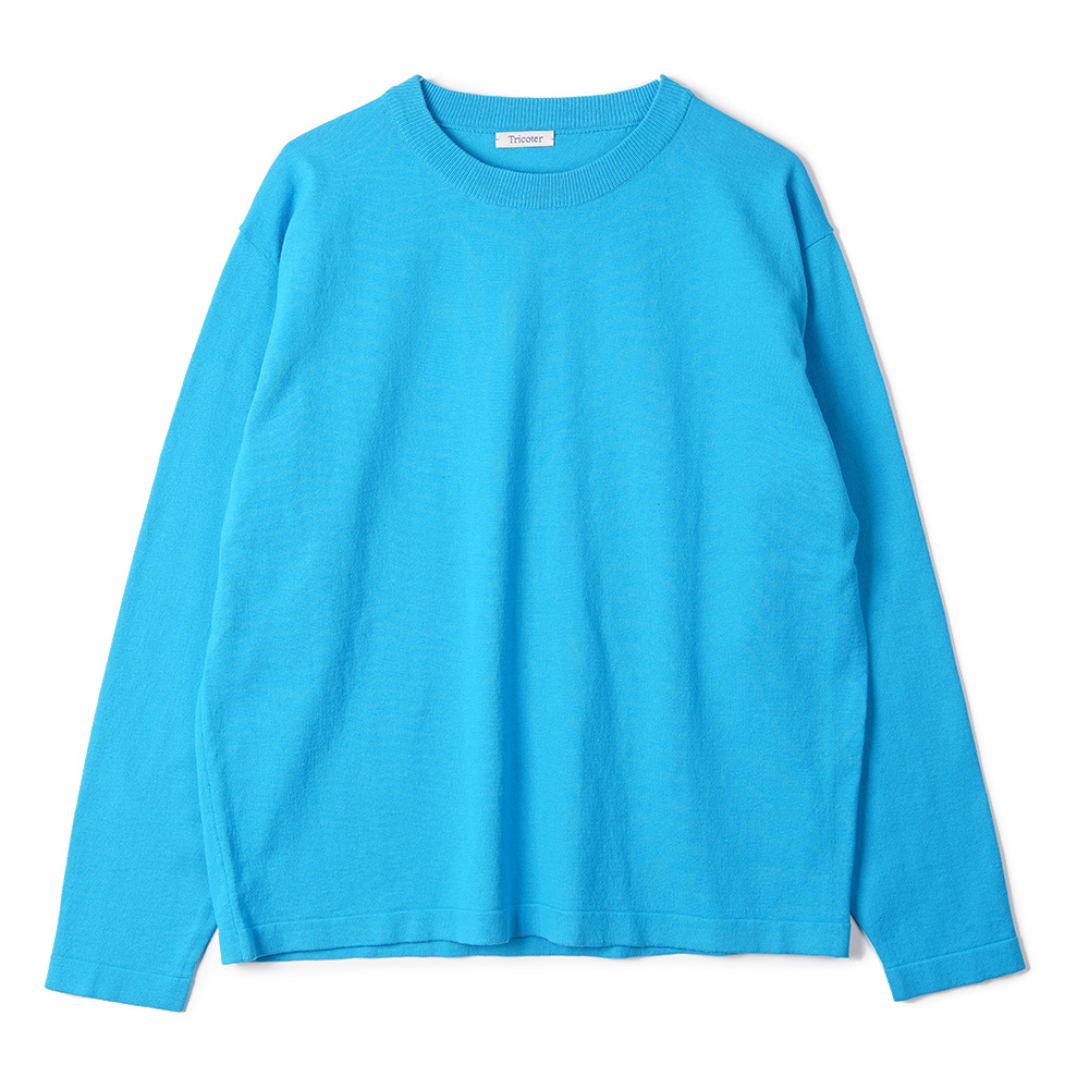 "TRICOTER High Twist Cotton Crew Neck Knit ""Cyan blue"""