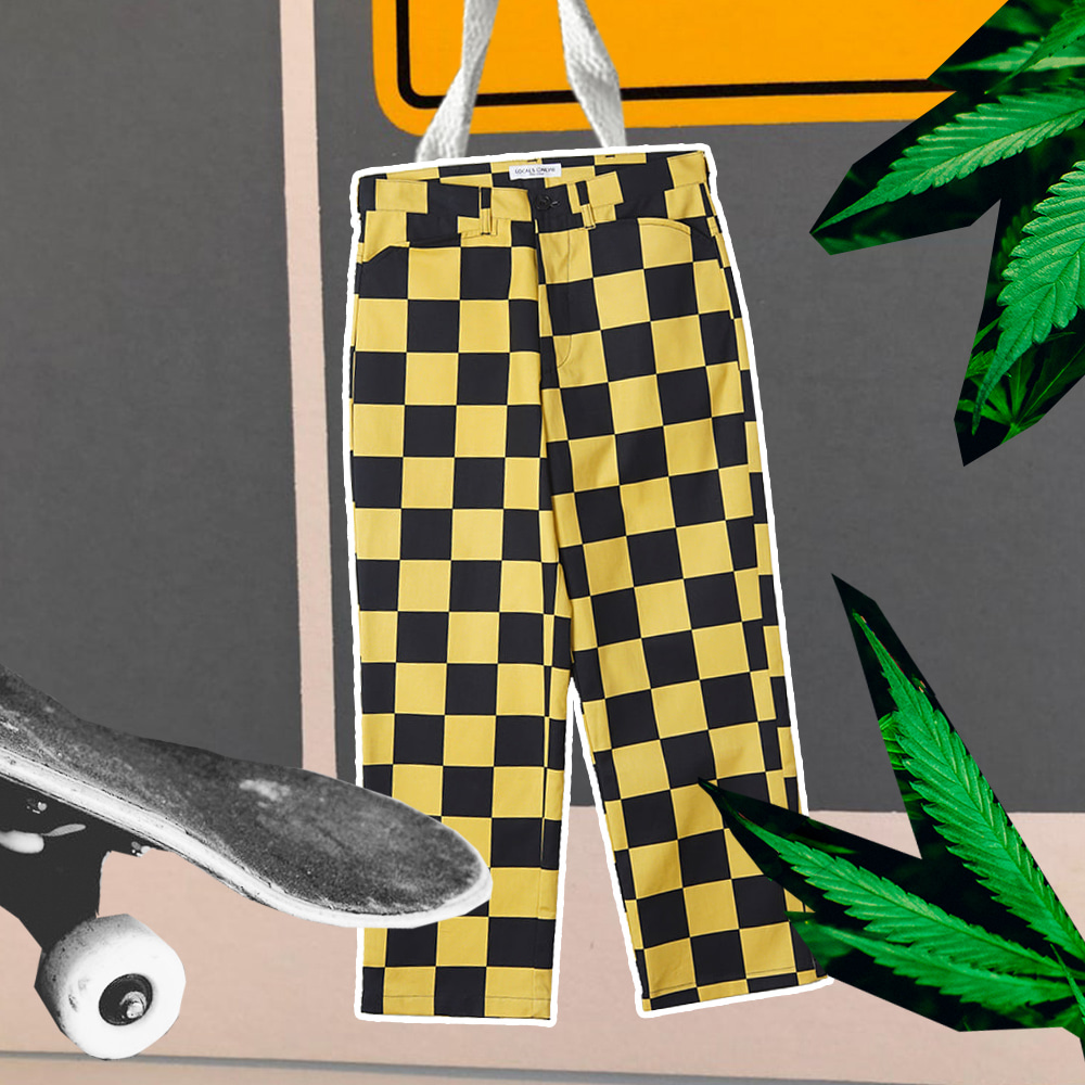 "LOCALS ONLY Checker Board Pants ""Black/Yellow"""