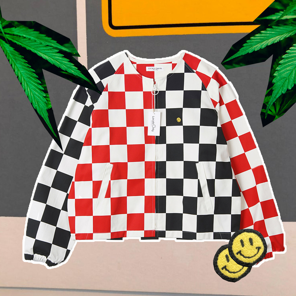 "LOCALS ONLY Checkerboard Collarless Drizzler Jacket ""White/Black/Red"""