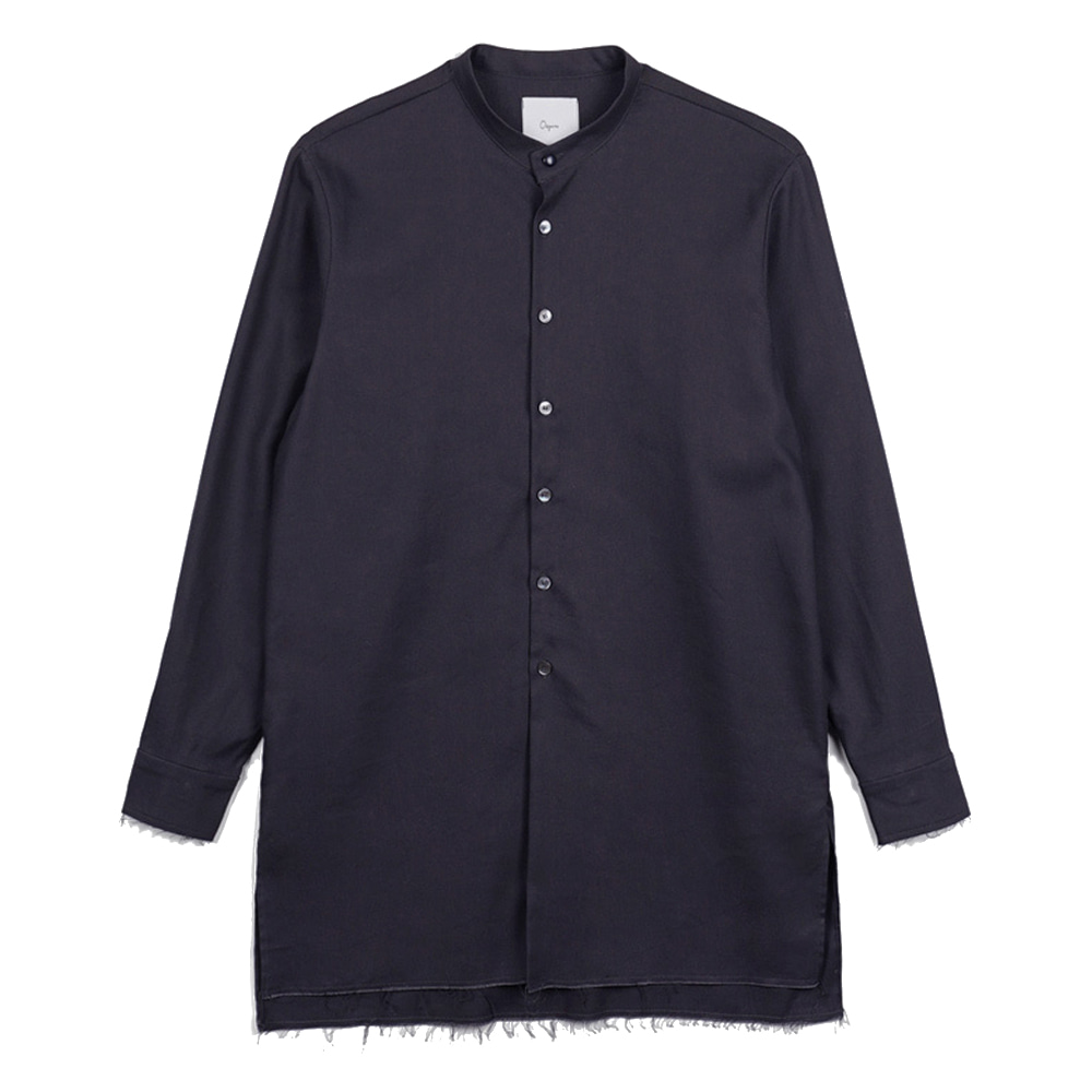 "OOPARTS OPT17FWSH02BE Collarless-long shirt ""Charcoal"""