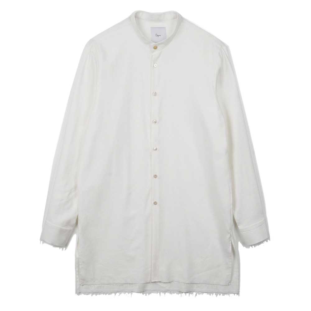 "OOPARTS OPT17FWSH02BE Collarless-long shirt ""White"""