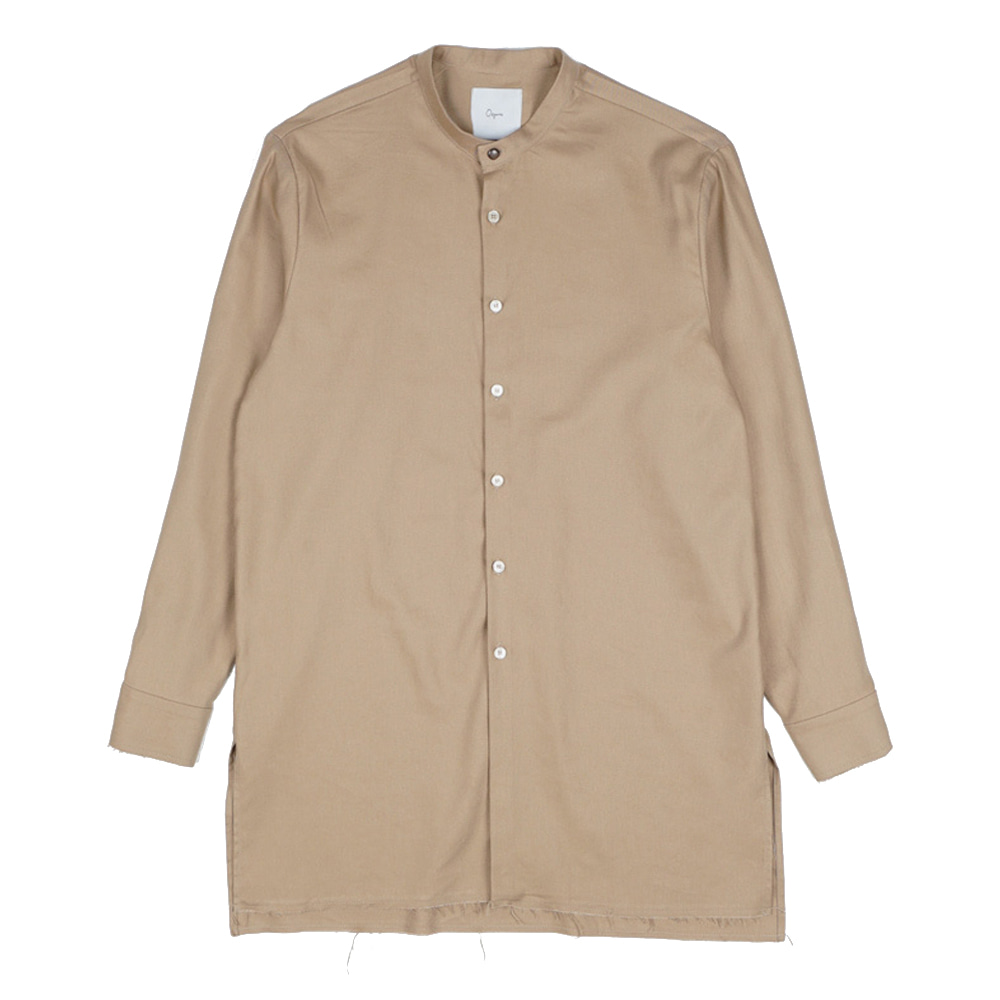 "OOPARTS OPT17FWSH02BE Collarless-long shirt ""Beige"""