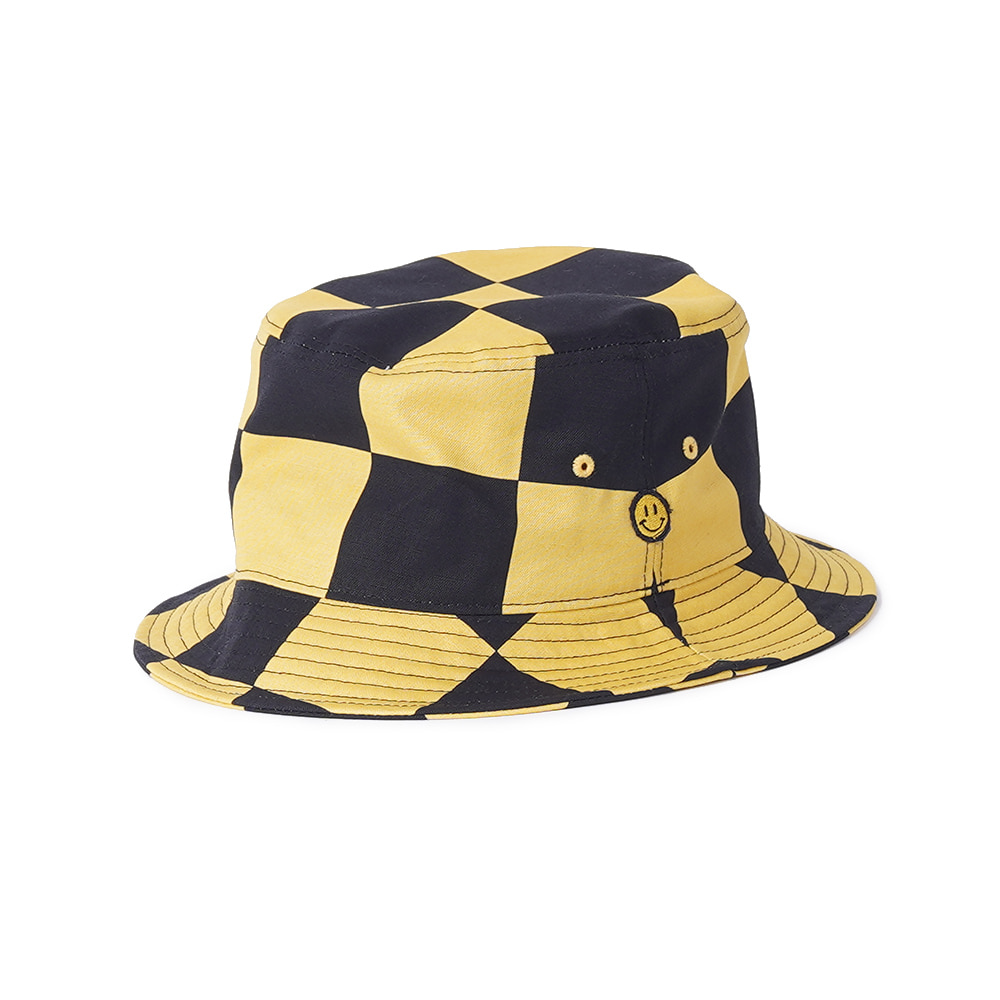"LOCALS ONLY Checkerboard Bucket hat ""Black/Yellow"""