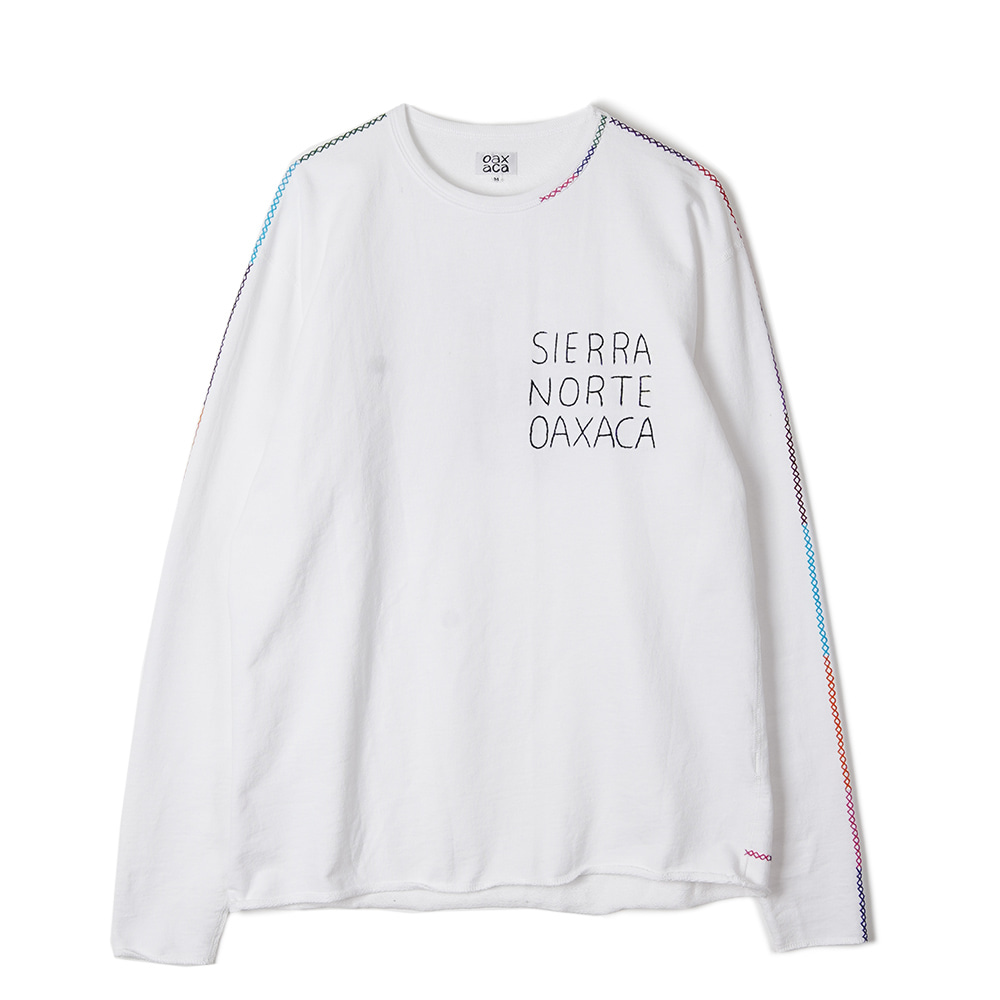 "OAXACA White French Terry L/S Tee ""White / Deer"""