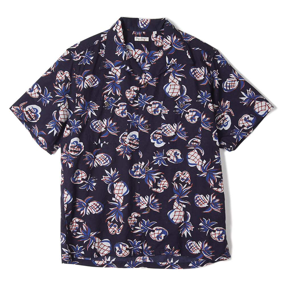 "BURGUS PLUS S/S Open Collar Shirt ""Navy"""