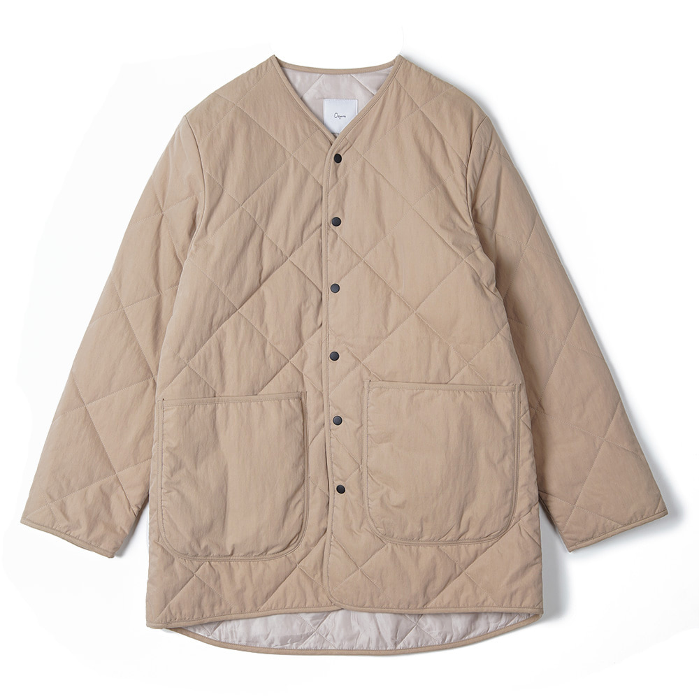 "OOPARTS Round Neck Quilted Coat ""Beige"""