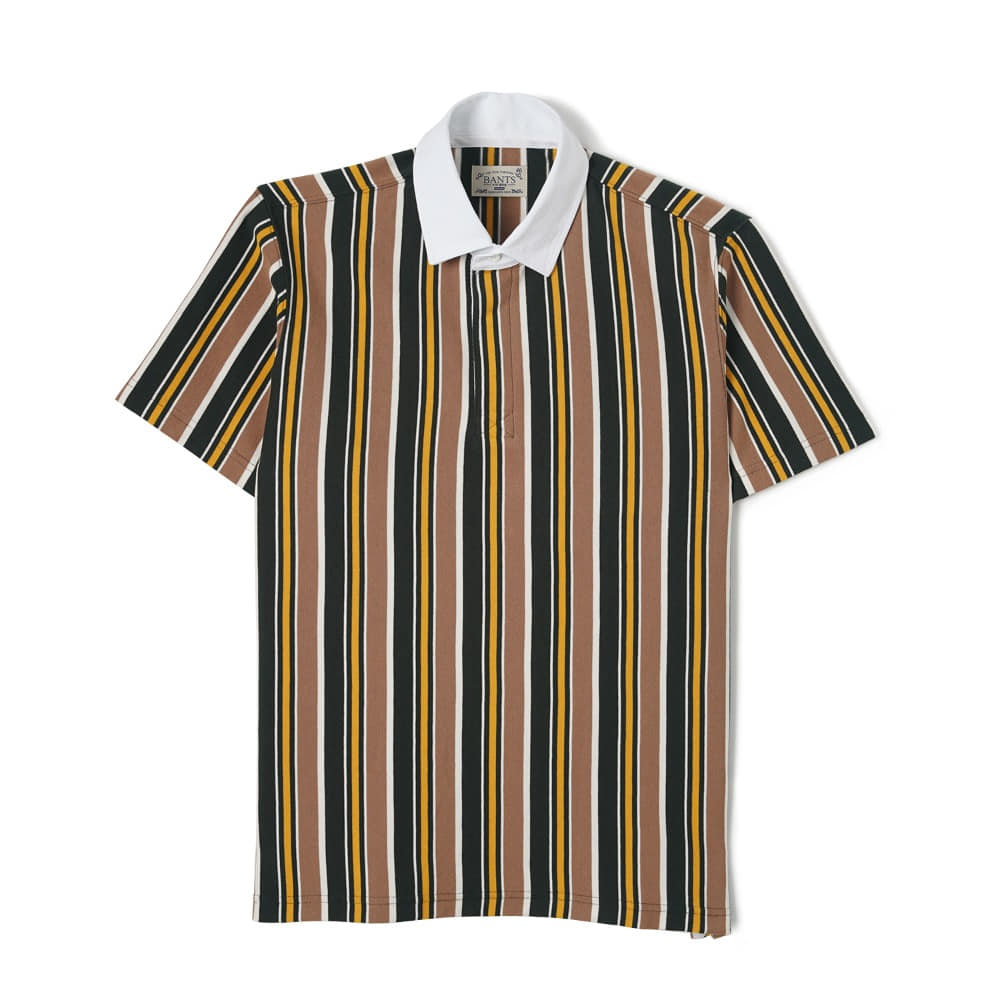 "BANTS WSK Vertical Stripe Cotton Rugby T-shirt Half ""Beige x Green"""