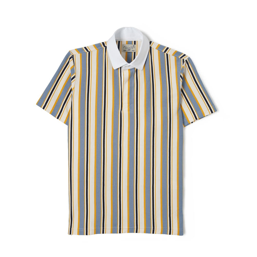 "BANTS WSK Vertical Stripe Cotton Rugby T-shirt Half ""Off White x Skyblue"""