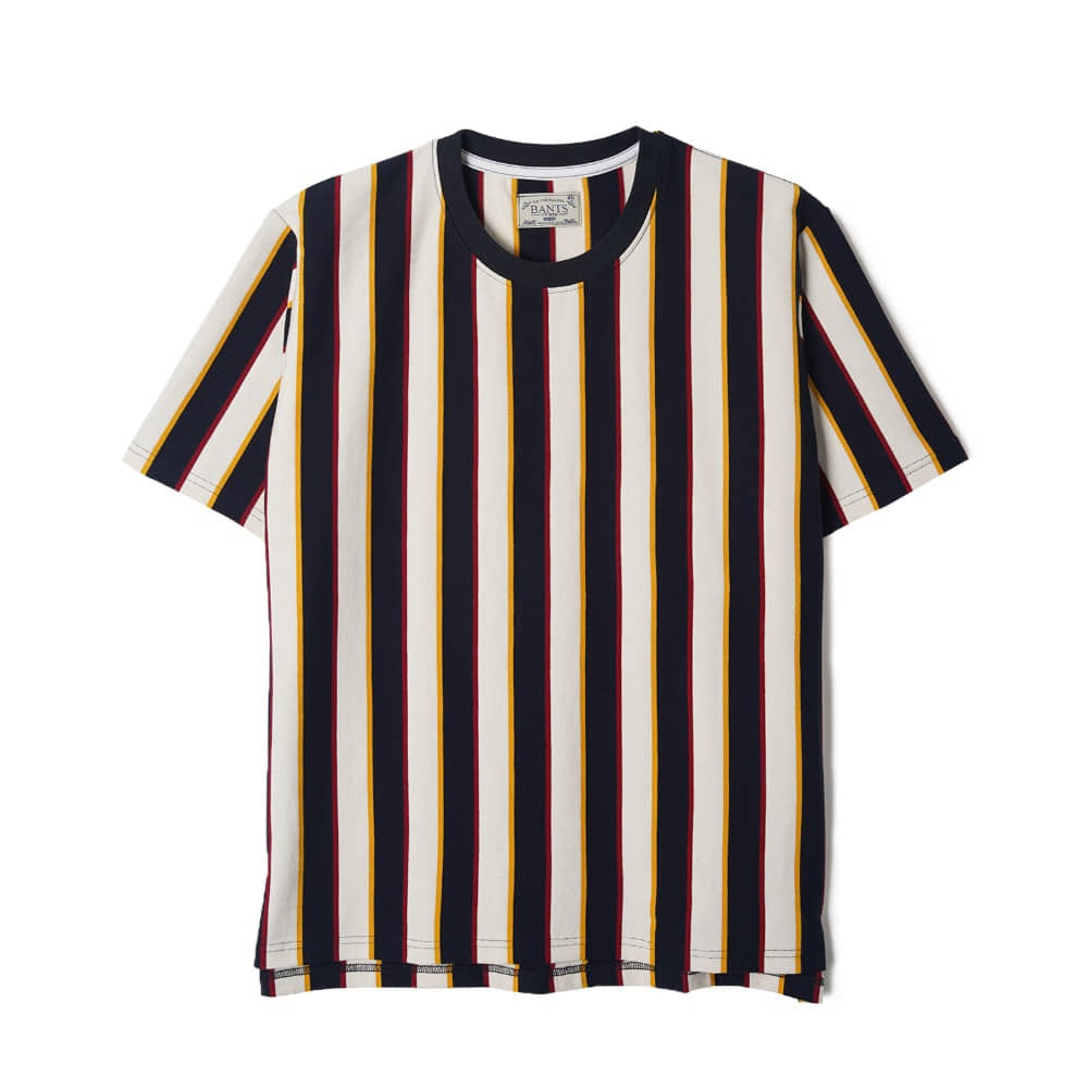 "BANTS WSK Vertical Stripe Cotton T-shirt Half ""Off White x Navy"""