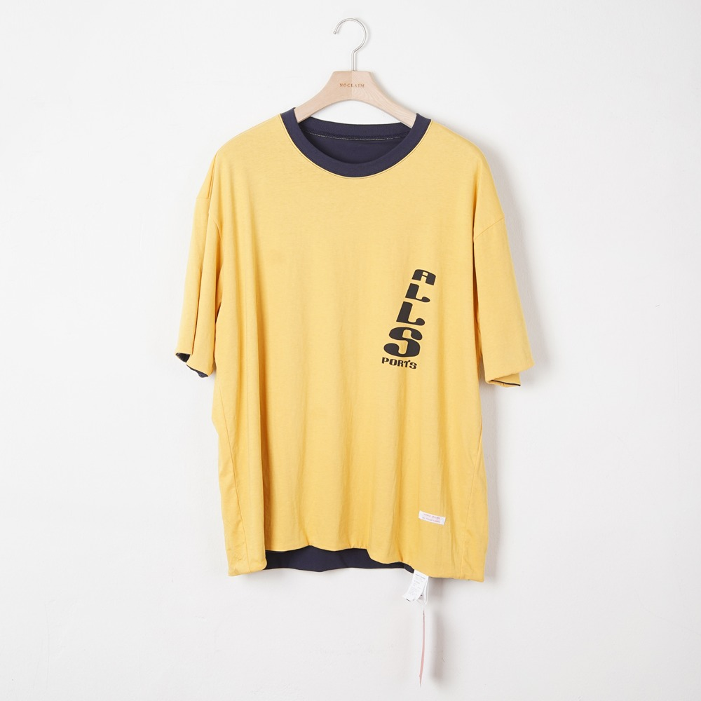 "HONEST CROCKER HC Reversible sports t-shirt ""Mustard/Navy"""