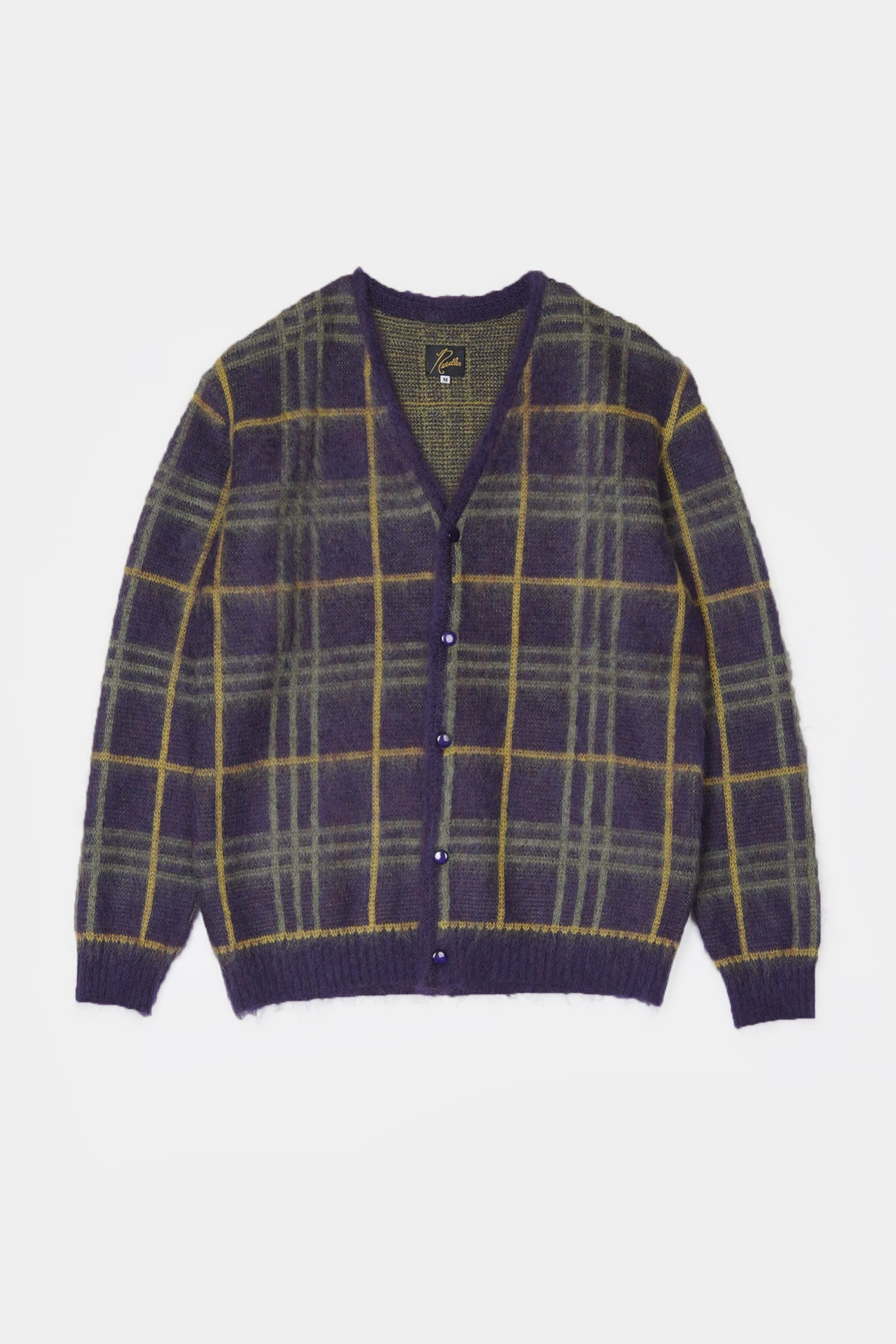 "NEEDLES Mohair Plaid Cardigan  ""Plum"""